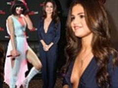 Selena Gomez wears Zara jumpsuit at Kiss FM Jingle Ball in Dallas